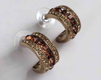 Vintage GIVENCHY Rhinestone Stud Hoops // Pierced //