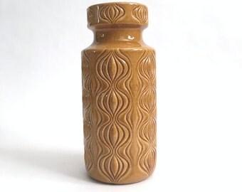 Vintage Ceramic West German Scheurich Pottery Vase Vessel, Amsterdam (Onion) Pattern 285-23