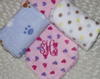 Personalized Fleece Baby Blanket; 3 Styles to Choose From