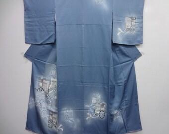 Blue grey silk Kimono Goshoguruma imperial cart Yuzen dying