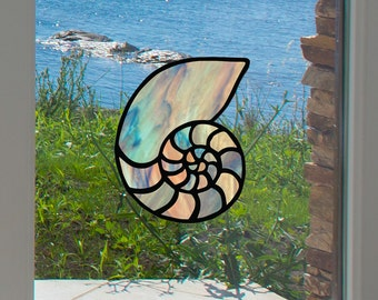 "CLR:WND - Nautilus Seashell - Shell - Stained Glass Style Vinyl Window Decal - © 2016 YYDCo. (5""w x 4""h)(Color Choices)"