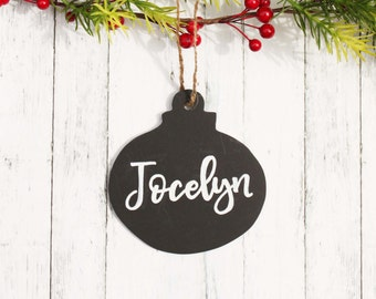 Personalized Chalkboard Style Ornament, Painted Custom Rustic Ornament, Black and White Name Christmas Tree Ornament Holiday Decor