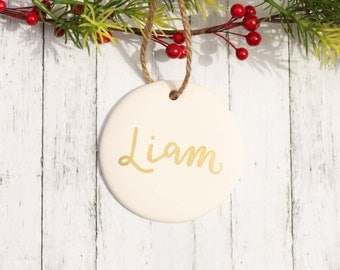 Personalized Ceramic Ornament, Painted Custom Keepsake Ornament, White and Gold Name Christmas Tree Ornament Holiday Decor Gift