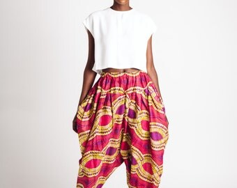 Indian Cotton Bianca Pants Pink and Olive