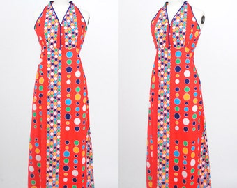 Vintage 1960s 1970s / Yayoi Kusama Polkadot Print Cotton Maxi Dress/ Size Medium/Large
