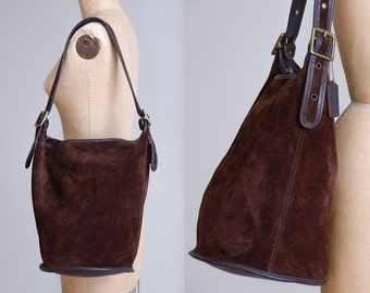 Vintage Coach Berkeley Duffle Sac Brown Suede - XL - Bohemian Leather Feed Sac Bag Shopping Tote Shoulder Bag F6B 9010