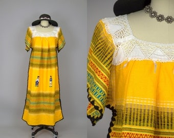 70s Oaxacan Embroidered Yellow Knit Souvenir Hippie Dress
