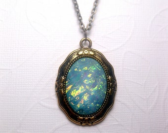 Galaxy Turquoise Pendant Necklace - Rainbow - Opal - Mood Stone - Faceted - Custom Chain Length - Christmas Gift