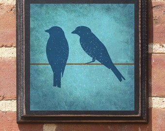 Love Birds on a Wire Wall Art Sign Plaque Gift Present Personalized Color Custom Home Decor Vintage Style Wedding Anniversary Antiqued