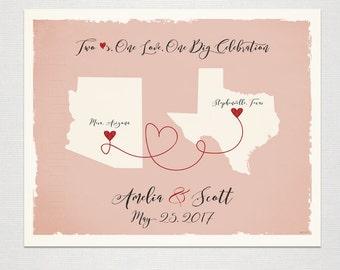 Two USA States Custom Wedding Print Destination Wedding Gift Memento Marriage Couple print Signature Guest Books Map Wedding Signature Map
