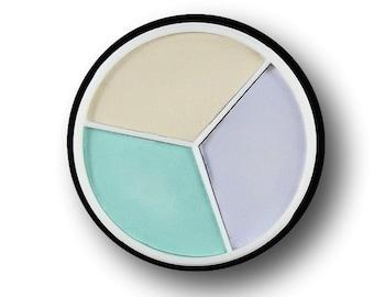 Trio Corrector Wheel Eye Shadow Primer Pale green Lilac Vegan Ivory Concealer