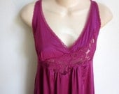 Gorgeous nightgown magenta rose satiny long length sexy lingerie size M L