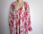 Peignoir nightgown and kimono robe set pink floral plus size lingerie L XL