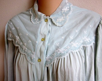 Vintage nylon nightgown pale blue free bust long granny gown L