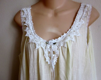Miss Elaine cotton nightgown loose cool & cute M L