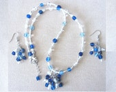 Fluttering Shades of Blue Glass Beaded Necklace and Earring Set, Handmade Original Fashion Jewelry, Simply Elegant Unique Ladies Gift Idea