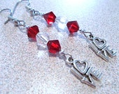 Red & White Crystal Beaded Dangle Earrings with Silver I Love You Charms, Handmade Original Fashion Jewelry, Cute Ladies Valentine Gift