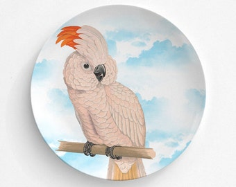 "Salmon Crested Parrot Bird Plate, Melamine Plate, Vintage Bird Illustration, Kitchen, decorative plate, gift, Dinner Plate, 10"" plate,"