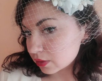 Perfection! 1950's White Floral Net Fascinator Cap