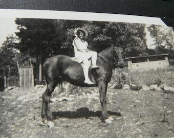 Vintage Snapshot Photo - Girl Posing Side Saddle on Horse