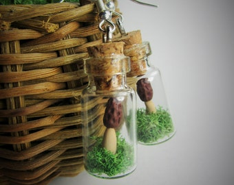 Morchella Morel Mushroom Tiny Moss Terrarium in a Bottle Earrings - Whimsical Woodland Fairy Tale