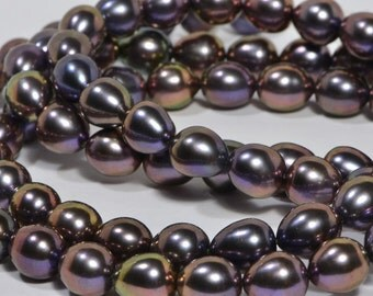 """Brown Pearl 8x7.5mm 16"""" inch Strand Cultured Pearl Beads Jewelry Making Supplies"""