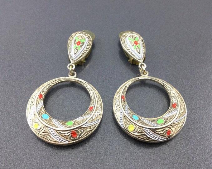 Vintage Spanish Colorful Damascene Earrings, Dangly Earrings Jewelry. Tourist Earrings, Spain Toledoware Earrings. Circle earrings.