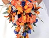 EVANGELINE CASCADE Wedding Bouquet Package Bridal Bridesmaid Groom Boutonnieres Corsages Keepsake Bouquets Roses Silk Floral Custom Flowers