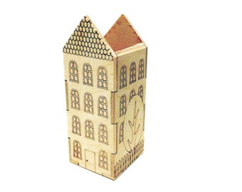 House pencil box wood laser cut