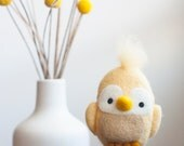 Needle Felted Bird, Needle Felted Animal, Plush, Felt Animal, Birdie, Toy, Ornament, Yellow, Cute, Gift, Nursery