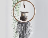 "Grey Owl Baby Mobile Nursery Decor 8""- Hoop decoration, Children's Room Decor, Fringe, Leaf, Fall, Gray, Boy, Neutral"