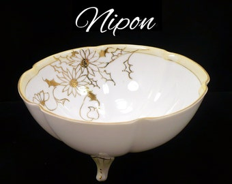 Antique 1920s Nipon Porcelain Bowl, Footed, Hand Painted 24k Gold Gilding Ivory Fluted Edges Art Deco Downton Abbey Style Hostess Gift