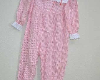 Vintage 80s The Children's Hour jumper Jan Briggs red hearts overall frock girl toddler size 24m  made in USA  Photo