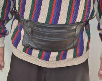 Vintage Wilsons leather WL Fanny pack waist black leather bag 90s  travel bag soft leather  Organizer handbag belt bag  Unisex Gift