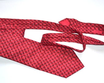 Vintage authentic Hermes Paris classic tie Hermes tie Silk  burgundy red checkered design blue dot 7865 UA tie Gift for him Made in France