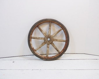 """Antique Wood Spokes and Rubber Wheel Wagon Wheel Buggy Wheel Primitive 10"""" French Hand Cart"""