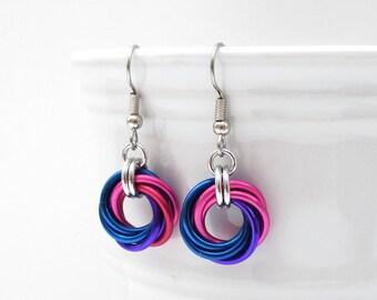Bisexual pride earrings, love knot chainmail earrings, bi pride jewelry; pink, purple, blue