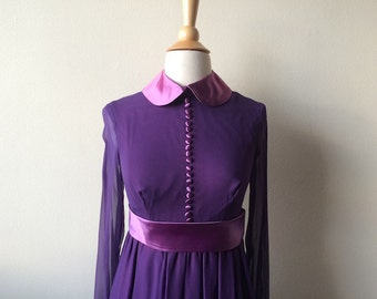 Vintage Peter Pan Collar Amethyst Dress