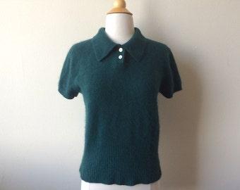 Vintage Fuzzy Angora Forest Green Sweater
