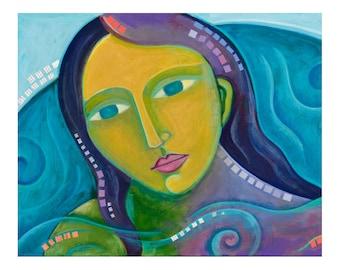 8x10 PRINT, in the bathtub thinking, mermaid art, bathroom decor, folk art portrait,  by Elizabeth Rosen