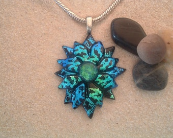 Handcrafted Dichroic Glass Diamond Shaped Pendant