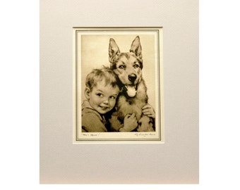 "Vintage J. Knowles Hare Print - Boy with German Shepherd - ""Who's Afraid"" - Black & White Lithograph of Boy and Dog - Child's Bedroom Decor"