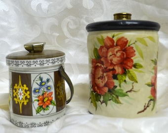 Vintage Tin Candy Canisters.....Floral Tin Cans.....Set of 2 ......Murray Allen Marked England