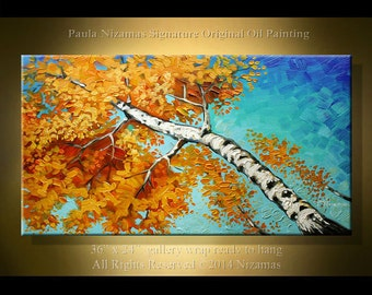 Painting on canvas Birch Tree Palette Knife Landscape from Nizamas Wall Decor Blue Orange