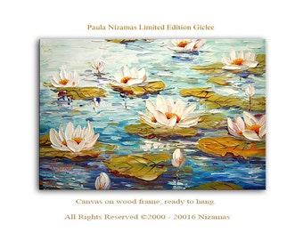 Wall Art Water Lilies Giclee PRINT on Canvas Home Decor Wall Art Painting blooming flowers white blossom art