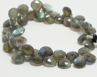 Labradorite Heart Briolettes, Labradorite Briolette Faceted Flat Drops, 10x10 mm, 8 Beads, Destash Gemstones #109