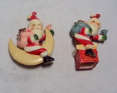VINTAGE 2 Hard Plastic Santa Candy Container Tops Made in Hong Kong