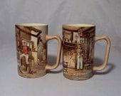 """2 Newhall Hanley Dickensware """"Sam Weller"""" & """"Mr. Wilkins"""" Mugs England"""