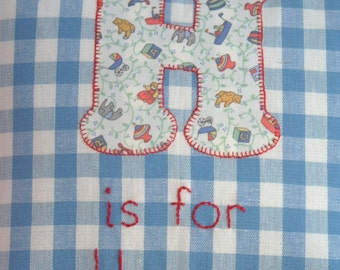Personalised pillow, cushion cover. Laura Ashley blue gingham & vintage nursery print applique initial, hand-embroidered name.