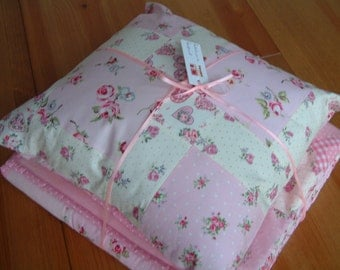 Pink patchwork cotton cushion, pillow. Ready to ship.
